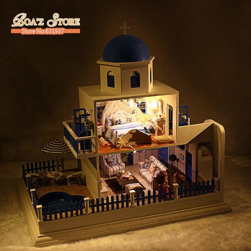 Kits diy wood dollhouse villa miniature with led furniture cover magic