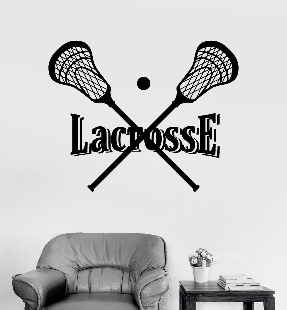 Vinyl wall decal lacrosse stick and ball player sports stickers in wall stickers from home garden on aliexpress com alibaba group