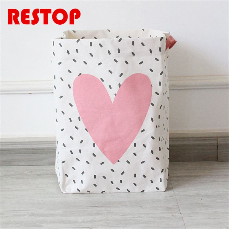 RESTOP Cartoon Laundry Basket Canvas Washing Laundry Bag Hamper Storage Dirty Clothing Bags Toy Storage Bag RES1024