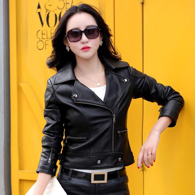 2016 spring new  women's leather jacket slim motorcycle leather clothing casual women's jacket coat female