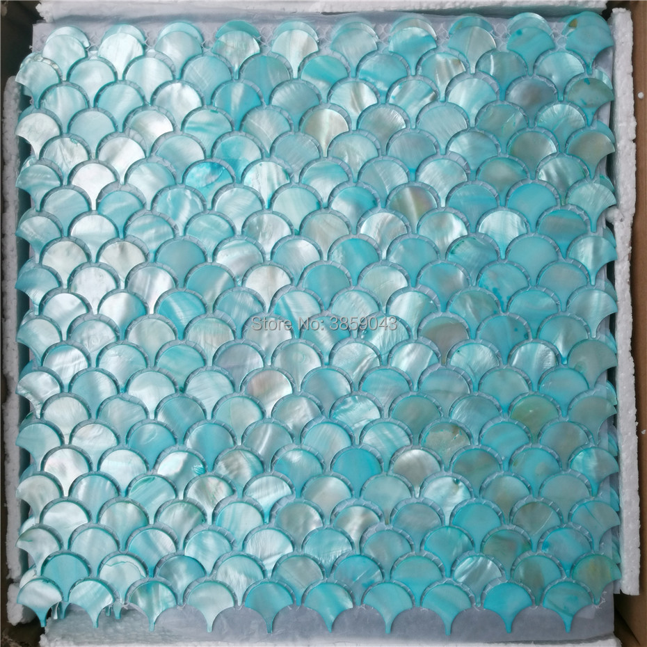 - Blue Mother Of Pearl Mosaic Tile For Kitchen Backsplash And