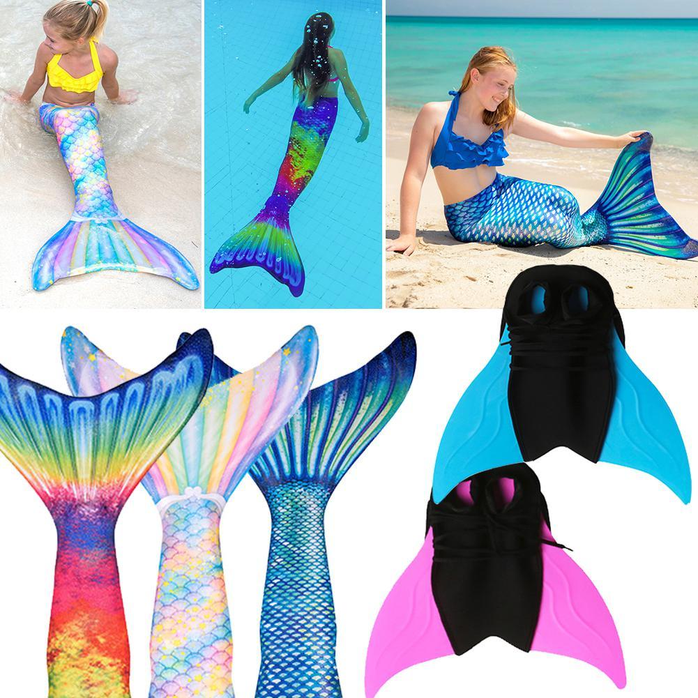 Women Girl Parent-child Princess Bikini Mermaid Tail Holiday Beach Swimsuit Colorful Fishtail Bottoms Swimming Fins Flipper