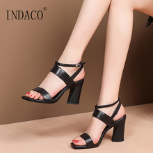Sandals Women Summer Shoes Footwear Genuine Leather Ankle Strap Thick Heel