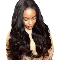 Glueless Full Lace Human Hair Wigs For Women Body Wave Full Lace Wig With Baby Hair 180 Density Virgin Natural Black Sunny Queen