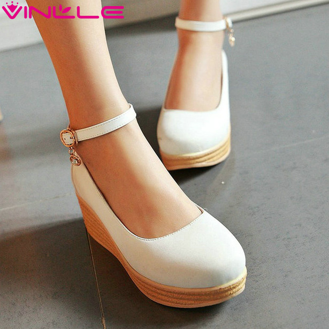 VINLLE 2017 Women Pumps Brown Platform Spring Autumn Ankle Strap Pink Shoes Women Wedges High Heel Women Chunky Pumps Size 34-39