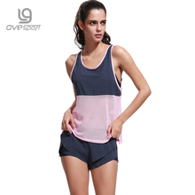 Summer Casual Chiffon Women's Set Fitness Breathable Sleeveless Tops And Shorts Two Pieces Set Sporting Suit For Women Clothing