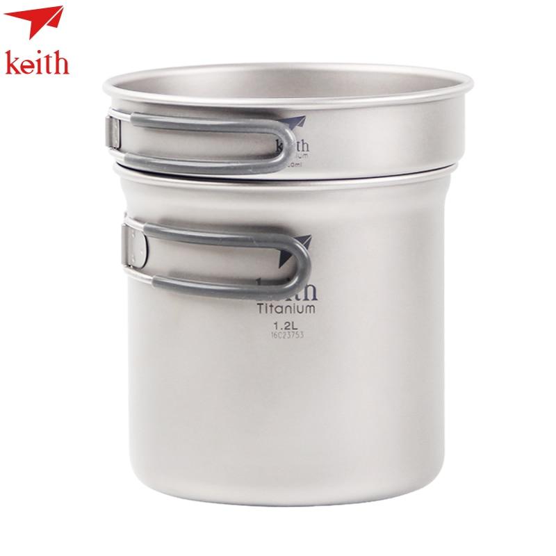 ФОТО Keith Ti6013 Titanium Pot  Outdoor Camping Cooking Pot Picnic Cookware Pot  Set+ Frying Pan