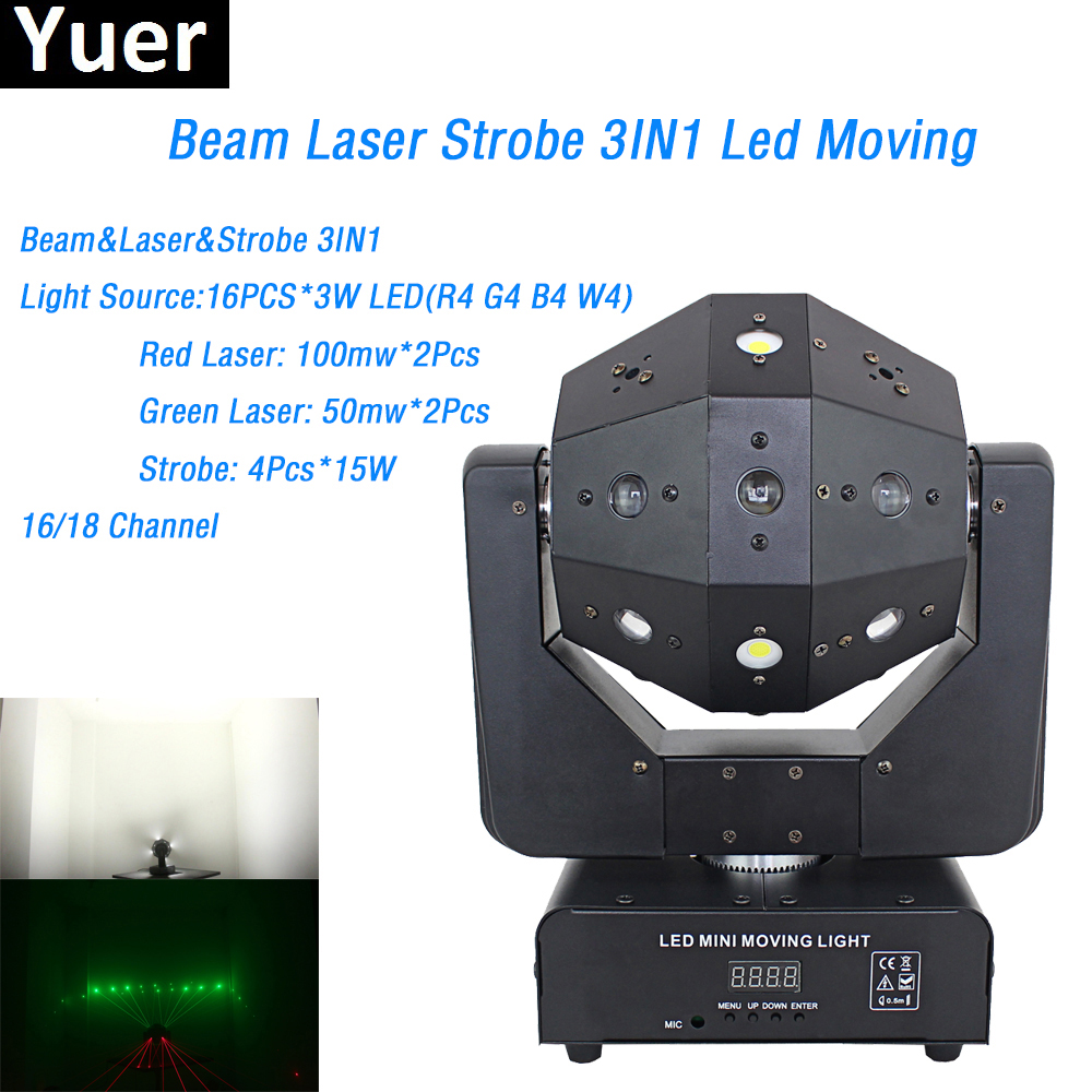Yuer Free Shipping Beam&Laser&Strobe 3IN1 Moving Head Light 16X3W RGBW Single Color LED 16/18 DMX Channel for DJ Disco Lighting