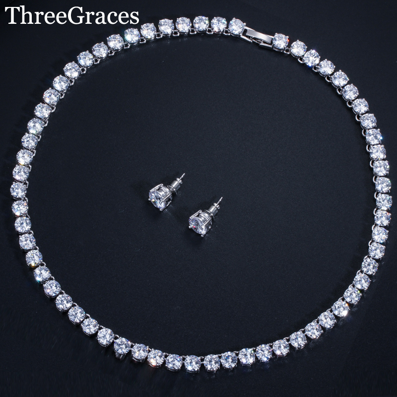 Choker Necklace Jewelry-Sets Stud-Earrings Brides Sparkling Threegraces Cubic-Zirconia