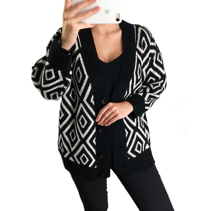 2018 Women Geometric Cardigans Sweater Loose Single Breasted Cardigan Coat V-neck Autumn Winter Knit Sweater Poncho Pull Femme