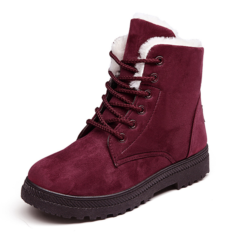 Classic Women Boots for Winter Suede Ankle  Boots Female Warm Fur Plush Insole High Quality Lace-Up 2017 new fashion women winter boots classic suede ankle snow boots female warm fur plush insole high quality botas mujer lace up