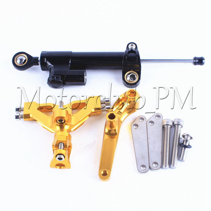Steering Damper Stabilizer With Mounting Bracket Kit For Kawasaki NINJA ZX14R 2006-2012 Motorcycle Accessories New Gold cnc steering damper set stabilizer with bracket mounting assemblly for kawasaki ninja300 ninja 300 ex300 13 14 15 16 2013 2016