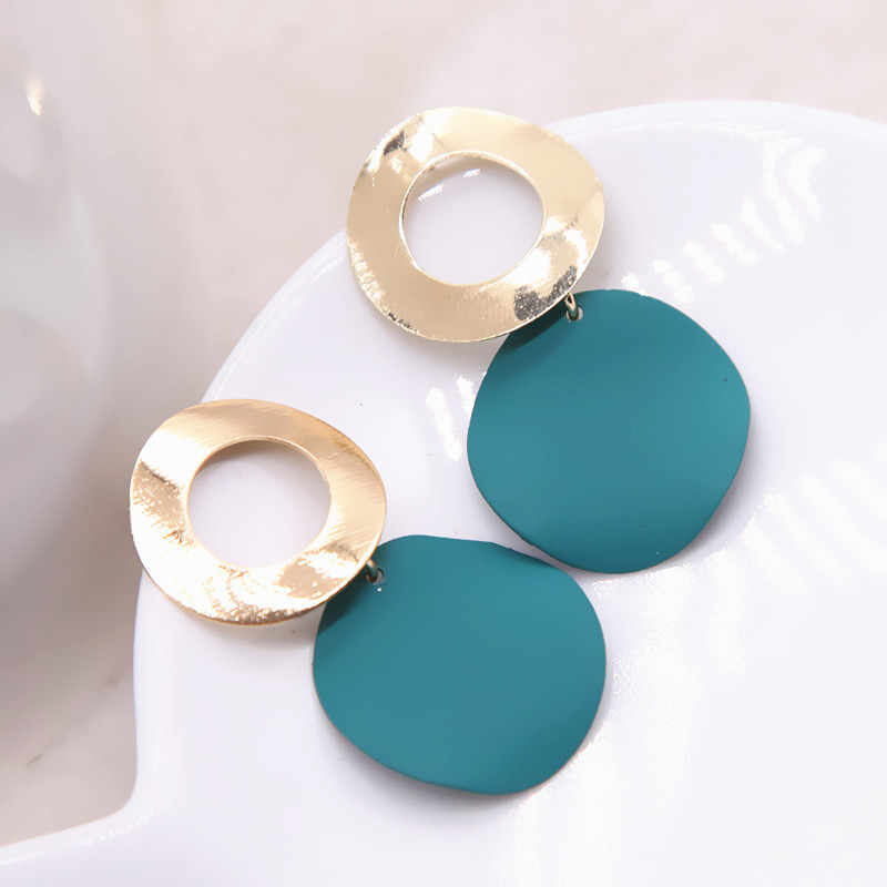 Elegant Round Metal Uneven Earrings For Women 2018 New Geometric Metal Earrings Fashion Jewelry Gift Party Trendy 3 Colors