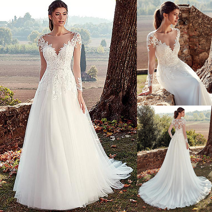 Wedding-Dresses Appliques Illusion-Back Long-Sleeves Vestido-De-Noche A-Line Tulle Lace