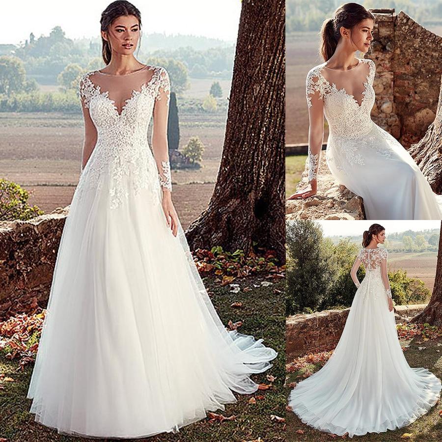 Tulle Jewel Neckline A-line Wedding Dresses With Illusion Back Lace Appliques Long Sleeves Bridal Dress Vestido De Noche
