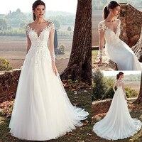 Tulle Jewel Neckline A line Wedding Dresses With Illusion Back Lace Appliques Long Sleeves Bridal Dress vestido de noche