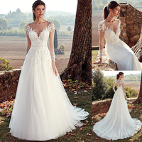 Tulle Jewel Neckline A line Wedding Dresses With Illusion Back Lace Appliques Long Sleeves Bridal Dress vestido de noche