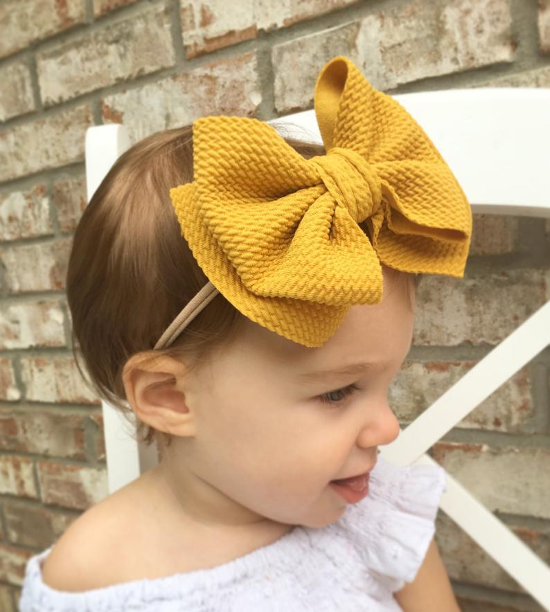 Bows Girls Headbands Wraps Hair-Accessories Turban-Head Top-Knot Big-Bow Double-Layer
