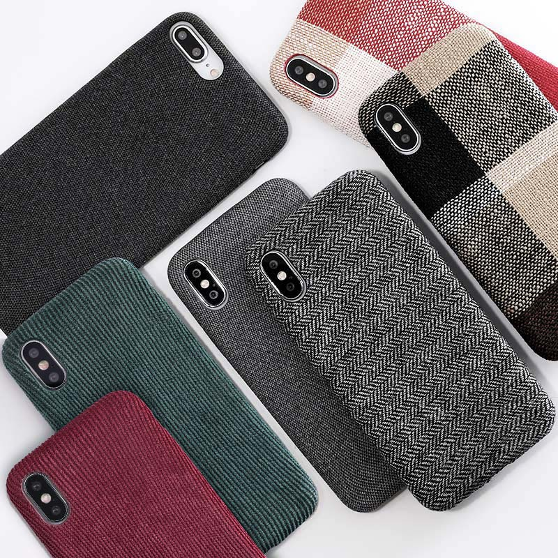 SoCouple Cloth Texture Soft case For iphone 7 8 6 6s plus Case For iphone X Xs max XR Ultra Thin Canvas Grid Pattern Phone cases monochrome