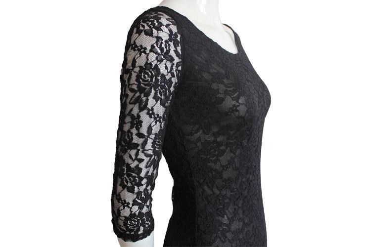 O-neck Slim One-piece Lace Dress With  Three Quarter Sleeve