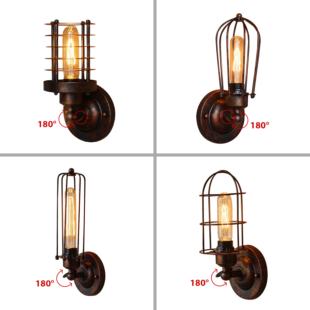 Image 5 - Vintage Industrial Wall Light,Rust Wall Lamp,светильник бра,Loft wall sconce Light Fixture,180°Adjustment,lampshade Up and downLED Indoor Wall Lamps   -