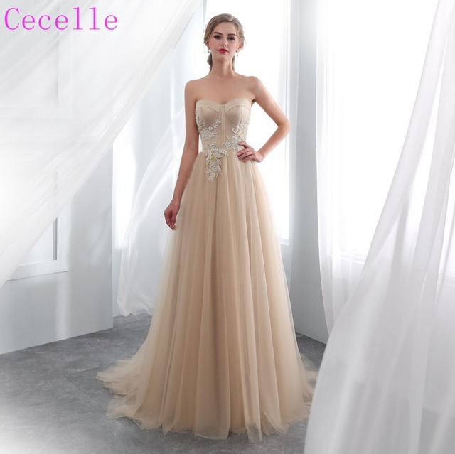 f4eb10a8d6 2019 New Arrival Tulle A-line Boho Wedding Dress Sweetheart Corset Back  Champagne Bohemian Bridal Gowns
