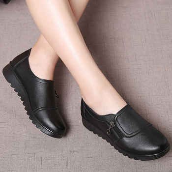 Fashion Women Flats Leather Shoes Female Slip on Loafers Anti Slip Moccasins Ladies Shoes black Zapatillas Mujer Casual