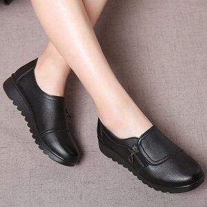 Image 2 - 패션 여성 플랫 가죽 신발 여성 슬립 로퍼에 안티 슬립 Moccasins 숙녀 신발 블랙 Zapatillas Mujer 캐주얼
