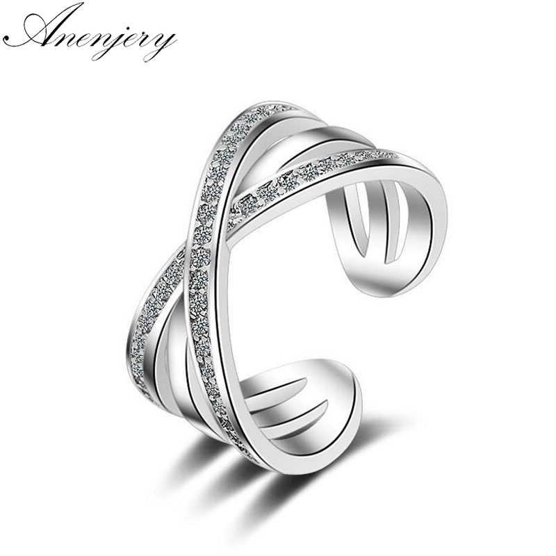 Anenjery 925 Sterling Silver Rings For Women Trendy Multi-layer Cross Mosaic CZ Zircon Resizable Rings bague femme S-R216