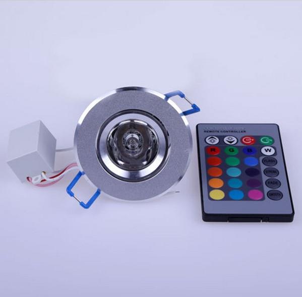 LED Light Bulbs Lamp 3W RGB 16 Colors Spot Light AC85-265V + IR Remote Control RGB LED Ceiling Downlight