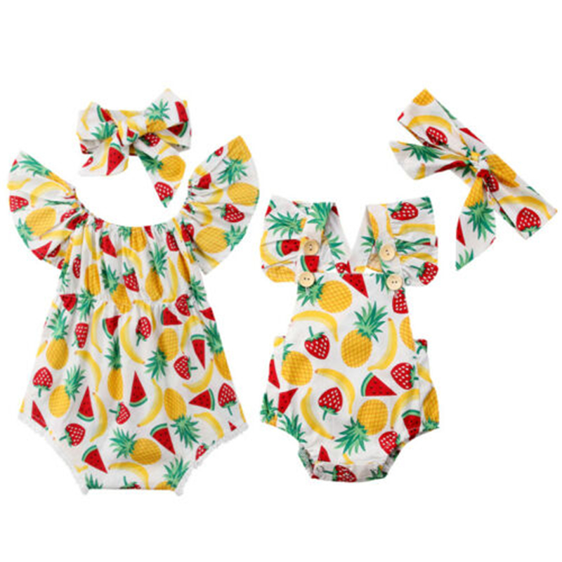 Aloha Pineapple Baby Short Sleeves Romper Bodysuit For 0-24m Baby