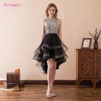Black 2018 Prom Dresses A Line Tulle Beaded Crysals Short Front Long Back Sexy Women Prom