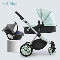 Hot Mom stroller High landscape can changed into sleeping basket leather 2019 new