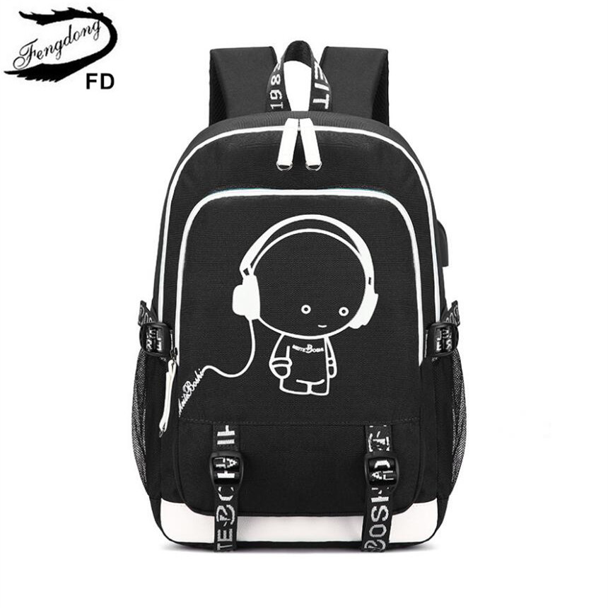 FengDong cute school backpack for girls waterproof school bags for women schoolbag backpack usb charge laptop computer bag 15.6 цены