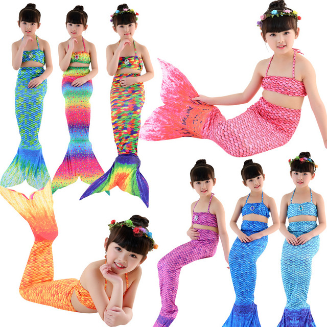 c0b82c8d4 OCQBI 2019 NEW Children Mermaid Swimwear Girls Role Playing Fairy Tales  With Flexible Bikini Cartoon Patterns