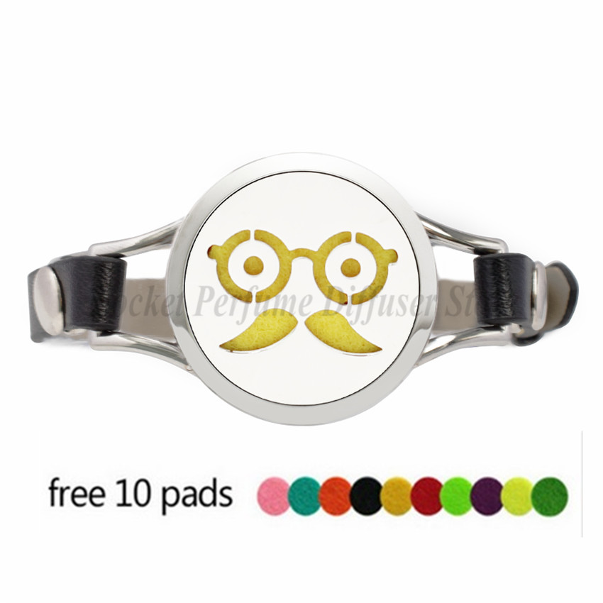 Lovely Face Expression 30mm Stainless Steel Watch Essential Oil Aromatherapy Diffuser Locket Bracelet Leather Band 10pcs Pads