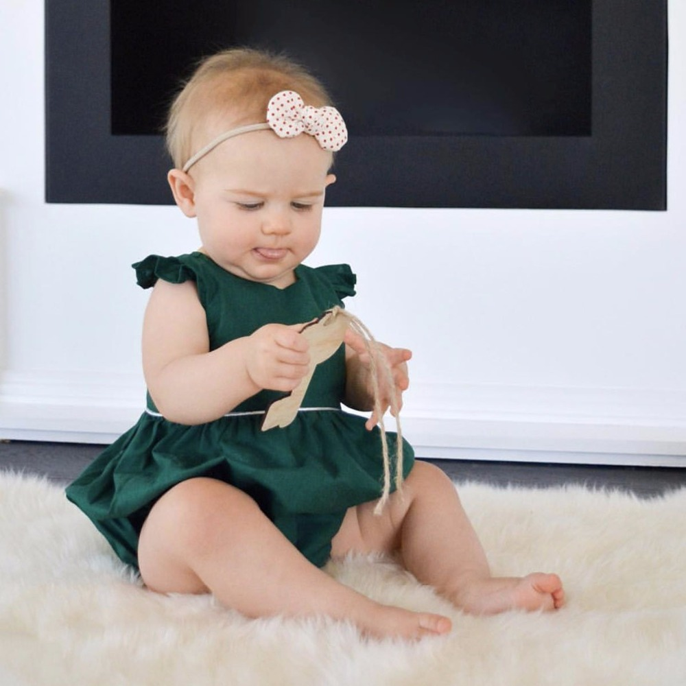 Puseky 2017 New Solid Green Newborn Infant Baby Girl   Romper   Retro Style Babes Girls Jumpsuit Outfits Sunsuit Clothes 0-2T