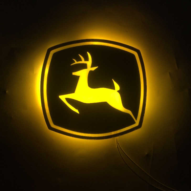 Cervos 8.5x8 cm conduziu a iluminação john deere/veículo/casa/placa decorativa do quadro de avisos personalização iluminação estática