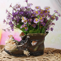 Funny Rabbits and Big Head Shoe Model Flower and Greens Planter Pot Decor Resin Craft Embellishment for Room, Balcony and Garden