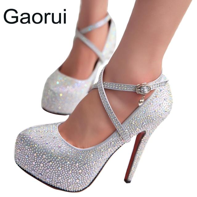 GAORUI women high heels prom wedding shoes lady crystal platforms Glitter rhinestone bridal shoes thin heel lacing party pump