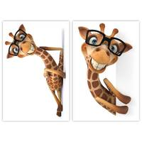 Unframed 3D Cartoon Giraffe Paintings For Children Room Wall Decor Big Size Posters And Prints Wall