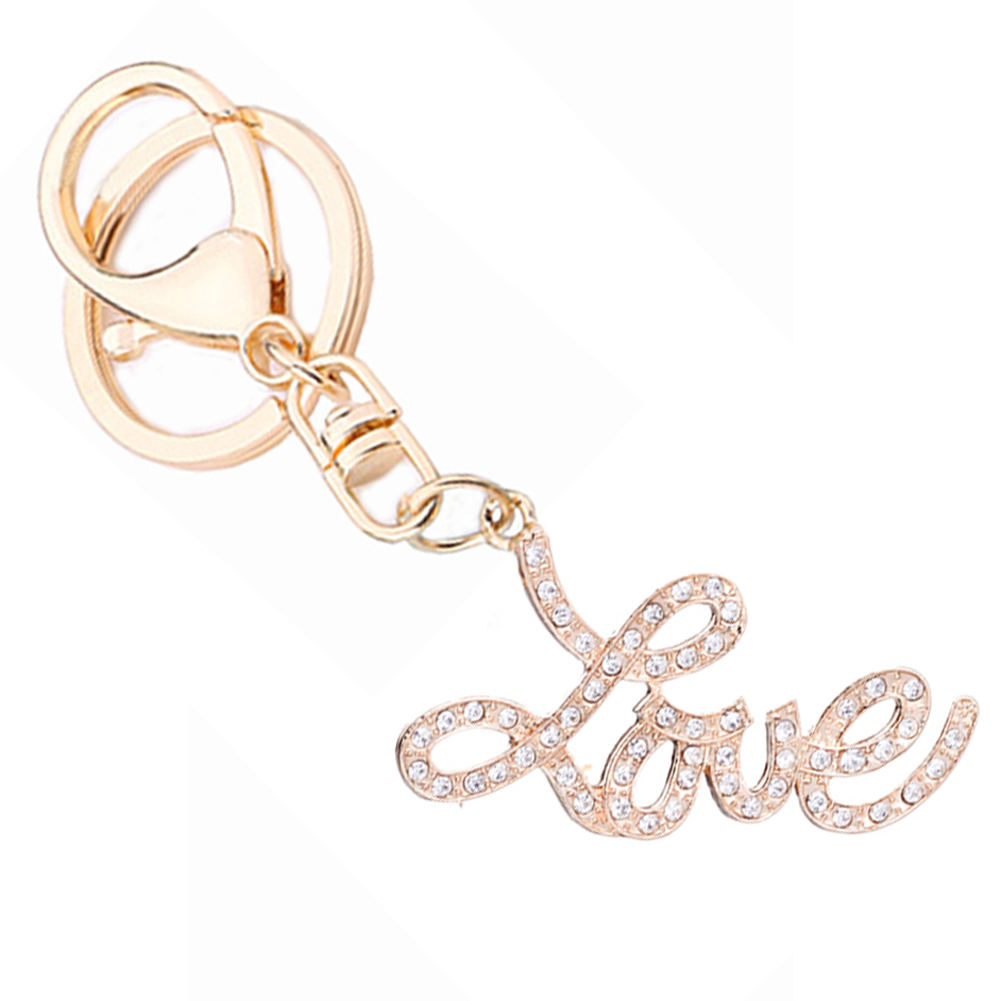 Novelty Rhinestone Letter Love Keychain Creative Car Key Chain Ring Holder Charm Bag Purse Decoration Souvenir Lovers Gift R029