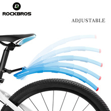 ROCKBROS Telescopic Bike Bicycle Fenders Folding MTB Front Rear Mudguards Quick Release Mud Fender With Taillight