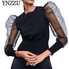 YNZZU Chic 2019 Autumn O neck women knit cardigan Black semi-sheer Organza sleeve knitted jacket Puff slim sexy coat O827