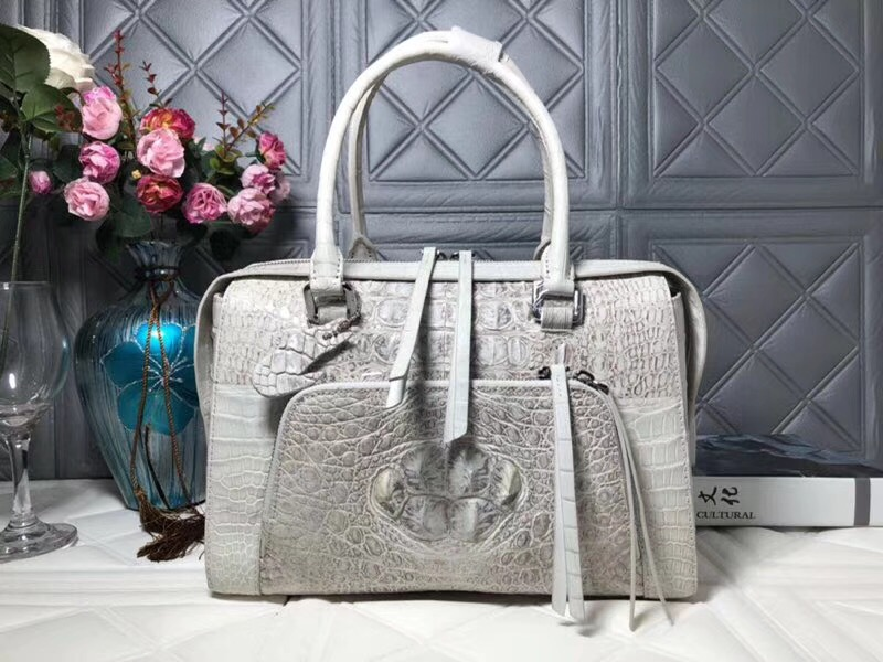 Unique Casual Designer Genuine Alligator Skin Women's Shopping Purse Exotic Crocodile Leather Female White Shoulder Bag Handbag цена