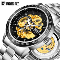 BOSCK Skeleton Automatic Men S Watch Waterproof Top Brand Mens Mechanical Leather Watches Noctilucous Relogio Masculino
