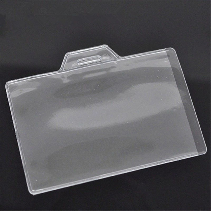 Creative Badge Holder & Accessories Clear Horizontal Plastic ID Card Badge Holder 9.5cm X 7cm, 50 Pieces