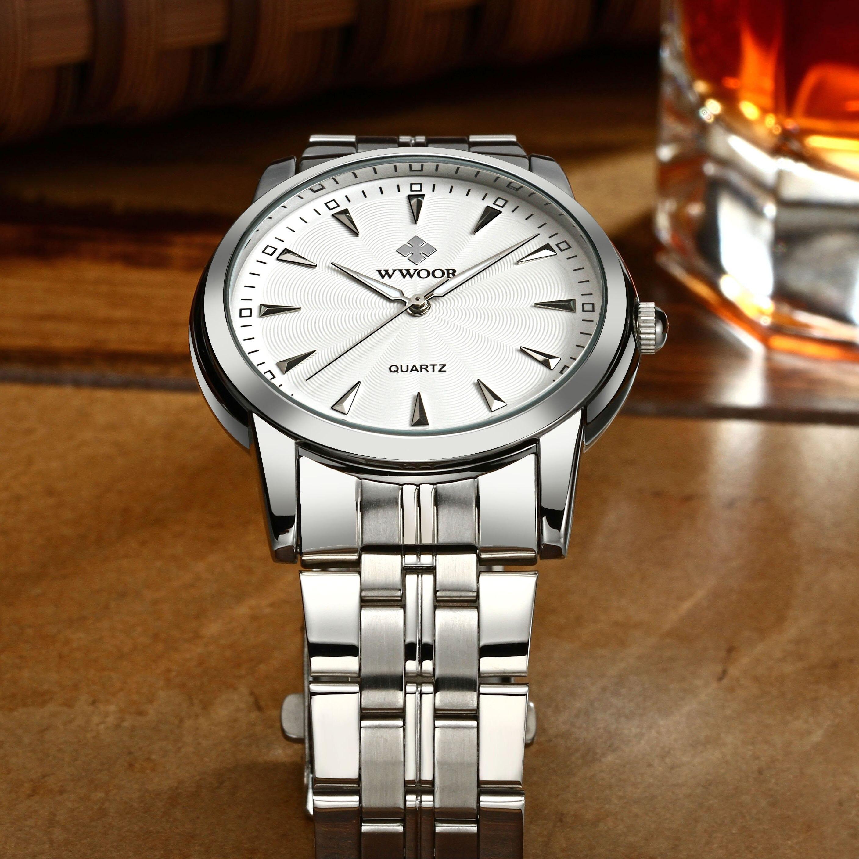 WWOOR Для мужчин Сталь группа часы мужской Бизнес кварцевые часы Мода Повседневное аналоговые часы Наручные часы Reloj Hombre 8028