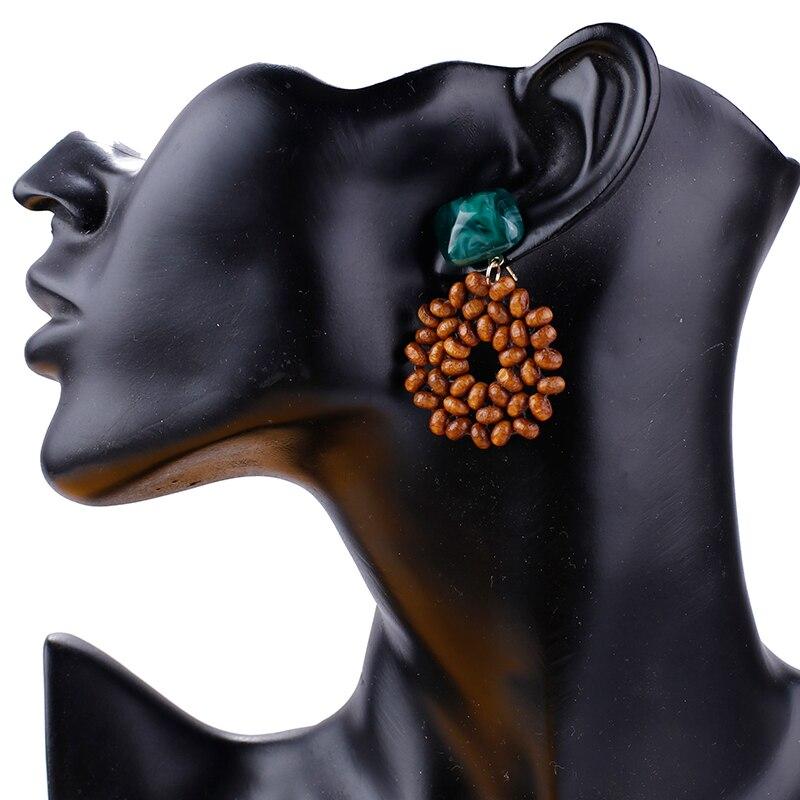 AENSOA 2019 New Earrings Vintage Wooden Beads Drop Earrings For Women Jewelry Summer Square Resin Ethnic Statement Earrings Gift