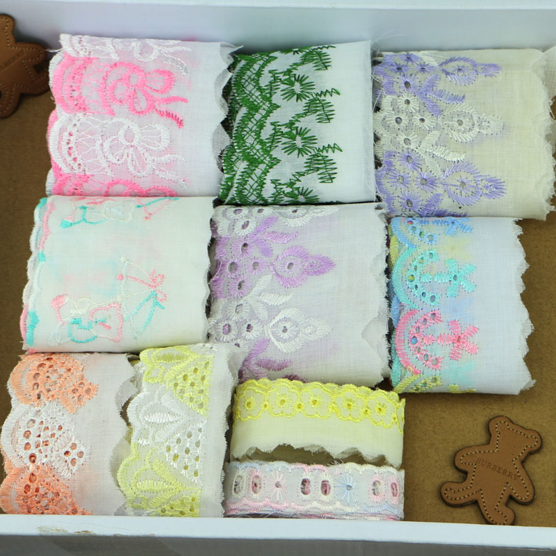 10yards/lot About 2-7CM Colored cotton embroidery lace DIT handmade materials garment accessories
